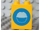 Part No: 4066pb317  Name: Duplo, Brick 1 x 2 x 2 with Head in Construction Helmet on Blue Circle Pattern