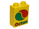 Part No: 4066pb347  Name: Duplo, Brick 1 x 2 x 2 with Octan Logo Pattern