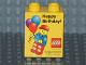 Part No: 4066pb363  Name: Duplo, Brick 1 x 2 x 2 with Happy Birthday Minifigure and Balloons Pattern