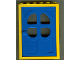 Part No: 4071c03  Name: Door, Frame 2 x 6 x 7 with Blue Fabuland Door 1 x 6 x 7 with Round Pane in 4 Sections (4071 / 4072)