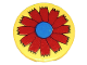 Part No: 4150pb031  Name: Tile, Round 2 x 2 with Scala Red Flower and Blue Center Pattern
