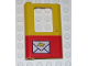 Part No: 4181pb022  Name: Door 1 x 4 x 5 Train Left with Red Bottom Half and Mail Envelope Pattern (Sticker)