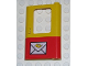Part No: 4182pb022  Name: Door 1 x 4 x 5 Train Right with Red Bottom Half and Mail Envelope Pattern (Sticker)