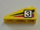 Part No: 4286pb012L  Name: Slope 33 3 x 1 with Black Number 3 on Black and Red Stripes Pattern Model Left (Sticker) - Set 6539