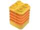 Part No: 44252pb01  Name: Duplo Brick 2 x 2 x 2 Ribbed Flexible with Medium Orange Fins Pattern