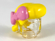 Part No: 49890pb01  Name: Minifigure, Hair Female Smooth with 3 Locks in Back and Bright Pink Bow Pattern
