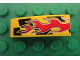 Part No: 50950pb027L  Name: Slope, Curved 3 x 1 with Red Flames on Black and Yellow Pattern Model Left (Sticker) - Set 8644