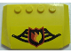 Part No: 52031pb008  Name: Wedge 4 x 6 x 2/3 Triple Curved with Fire Logo Badge on Black Fire Helmet Pattern (Sticker) - Set 7891