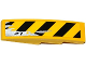 Part No: 61678pb083L  Name: Slope, Curved 4 x 1 No Studs with Black and Yellow Danger Stripes and Silver Splatters Pattern Model Left Side (Sticker) - Set 75919