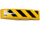 Part No: 61678pb083R  Name: Slope, Curved 4 x 1 with Black and Yellow Danger Stripes and Silver Splatters Pattern Model Right Side (Sticker) - Set 75919