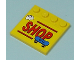 Part No: 6179pb018  Name: Tile, Modified 4 x 4 with Studs on Edge with 'SHOP' with Skateboard and Helmet Pattern (Sticker) - Set 7641