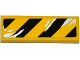 Part No: 63864pb036L  Name: Tile 1 x 3 with Black and Yellow Danger Stripes and Silver Splatters Pattern Model Left Side (Sticker) - Set 75919