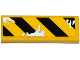 Part No: 63864pb036R  Name: Tile 1 x 3 with Black and Yellow Danger Stripes and Silver Splatters Pattern Model Right Side (Sticker) - Set 75919