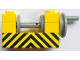Part No: 73037pb03  Name: String Reel Winch 2 x 4 x 2 (Light Gray Drum) with Black and Yellow Danger Stripes Pattern (Sticker) - Sets 558 / 670