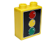 Part No: 76371pb004  Name: Duplo, Brick 1 x 2 x 2 with Bottom Tube with Traffic Light Pattern