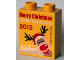 Part No: 76371pb018  Name: Duplo, Brick 1 x 2 x 2 with Bottom Tube with Legoland Discovery Centre Merry Christmas 2015 Pattern