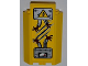 Part No: 87421pb010  Name: Panel 3 x 3 x 6 Corner Wall without Bottom Indentations with Electricity Danger Sign, 2 Ripped Cables, 'DANGER' and Gauge Pattern (Sticker) - Set 5887