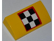 Part No: 88930pb013  Name: Slope, Curved 2 x 4 x 2/3 with Bottom Tubes with Checkered Flag with Red Outline Pattern (Sticker) - Set 4643