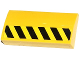 Part No: 88930pb048L  Name: Slope, Curved 2 x 4 x 2/3 with Bottom Tubes with Black and Yellow Danger Stripes Half Height Pattern Model Left Side (Sticker) - Set 70814