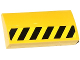 Part No: 88930pb048R  Name: Slope, Curved 2 x 4 x 2/3 with Bottom Tubes with Black and Yellow Danger Stripes Half Height Pattern Model Right Side (Sticker) - Set 70814