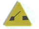 Part No: 892pb014  Name: Road Sign 2 x 2 Triangle with Clip with Black Drawbridge Pattern (Sticker) - Set 8135