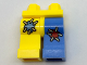 Part No: 970d37pb01  Name: Minifigure, Legs with Hips - 1 Medium Blue Left Leg with Red Patch, 1 Yellow Right Leg with Medium Blue Patch Pattern