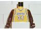 Part No: 973bpb152c01  Name: Torso NBA Los Angeles Lakers #34 (Yellow Jersey) Pattern / Brown NBA Arms