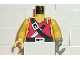 Part No: 973p3ac01  Name: Torso Pirate Ragged Shirt, Knife, and Black Crossbelt Pattern / Yellow Arms / Yellow Hand Right / Light Gray Hook Left