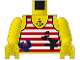 Part No: 973pabc01  Name: Torso Adventurers Jungle Tank Top, Stains, Wrench, Anchor Tattoo Pattern / Yellow Arms / Yellow Hands