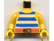 Part No: 973pb0280c01  Name: Torso Pirate Stripes Blue / White with Black Belt Buckle Pattern / Yellow Arms / Yellow Hands