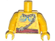 Part No: 973pb1512c01  Name: Torso Bare Chest with Muscles Outline, Blue Body Paint, Bone Necklace and  Red Belt Pattern / Yellow Arms / Yellow Hands