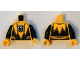 Part No: 973pb1865c01  Name: Torso Suit Serrated with Muscles Outline and White Sinestro Logo Pattern / Black Arms / Yellow Hands