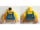 Part No: 973pb1870c01  Name: Torso Overalls Blue with Running Banana and 'Banana Co.' on Reverse Pattern / Yellow Arms / Light Nougat Hands