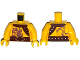 Part No: 973pb1916c01  Name: Torso Bare Chest Muscles, Purple Snake Tattoos, Snake Buckle, Shoulder Strap Pattern / Yellow Arms / Yellow Hands