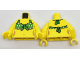 Part No: 973pb2738c01  Name: Torso Female with Green Tied-On Bikini Top with White Dots Pattern / Yellow Arms / Yellow Hands