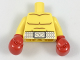 Part No: 973pb2893c01  Name: Torso Bare Chest with Body Lines and White Boxing Belt Pattern / Yellow Arms / Red Boxing Gloves