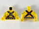 Part No: 973pb3451c01  Name: Torso Muscles Outline, Cross Straps, Silver Belt, Buckles, Head, Crossbones Pattern / Yellow Arms with Surfboard and Chainsaw Pattern / Yellow Hands