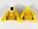 Part No: 973pb3738c01  Name: Torso Female Catsuit, Light Nougat Neck, Dark Orange Leopard Spots Pattern / Yellow Arms with Leopard Spots Pattern / Yellow Hands