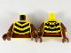 Part No: 973pb3746c01  Name: Torso Female, 3 Black Chevron Stripes, Reddish Brown Midriff Pattern / Reddish Brown Arms with Yellow and Bright Light Orange Cuffs Pattern / Reddish Brown Hands