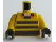 Part No: 973pb4156c01  Name: Torso Pixelated Light Nougat Neck and Dark Brown Stripes Pattern / Yellow Arms / Dark Brown Hands
