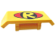 Part No: 98834pb07  Name: Vehicle, Spoiler 2 x 4 with Handle with Yellow Letter 'R' inside Black Circle (DC Robin Logo) on Red Oval Pattern