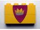 Part No: BA008pb05  Name: Stickered Assembly 4 x 1 x 2 with Triangular Shield with Crown Pattern (Sticker) - Sets 375 / 6075 - 2 Bricks 1 x 4