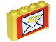 Part No: BA008pb06  Name: Stickered Assembly 4 x 1 x 2 with Mail Envelope Pattern (Sticker) - Set 6689 - 2 Bricks 1 x 4