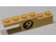 Part No: BA050pb01L  Name: Stickered Assembly 6 x 1 x 1 1/3 with Yellow '9' on Round Black Background Pattern Model Left Side (Sticker) - Set 8159 - 1 Plate 1 x 4, 1 Brick 1 x 4