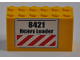Part No: BA059pb01  Name: Stickered Assembly 6 x 2 x 3 with '8421 Heavy Loader' and Red and White Danger Stripes Pattern (Sticker) - Set 8421 - 3 Bricks 2 x 6