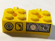 Part No: BA084pb01L  Name: Stickered Assembly 2 x 4 x 1 with Gauges Pattern Model Left Side (Sticker) - Set 7344 - 2 Brick 2 x 2 with Pin
