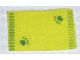 Part No: carpet03  Name: Belville Cloth Rug, 8 x 5, Green Edge Stripes and Paw Prints Pattern