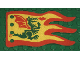 Part No: x376px1  Name: Cloth Flag 8 x 5 Wave with Red Border and Green Dragon Pattern - Single-Sided Print