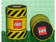 Part No: x607  Name: Foam Racers, Barrel with Black Warning Stripes and Lego Logo
