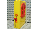 Part No: x635c01pb03  Name: Fabuland Building Wall 2 x 6 x 7 with Round Symmetric Red Window with Balloons Pattern (Sticker) - Set 3681